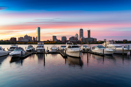 Boston city sunrise at charles river, Boston Massachusetts USA