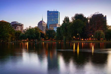 The pond at the Boston public garden, Boston Massachusetts USA Stok Fotoğraf