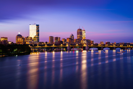 Bridge in boston city and Boston city skyline, Boston Massachusetts USA