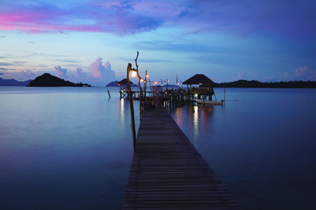 Wooden bridge at dusk Koh Mak, Trat Thailand