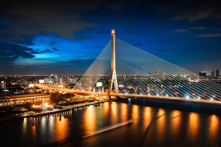 Rama 8 bridge Chao phraya river, Bangkok city skyline, Bangkok Thailand
