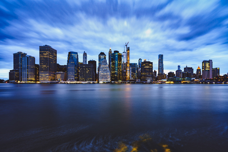 Manhattan Skyline from Brooklyn Bridge Park, NYC USA Stok Fotoğraf