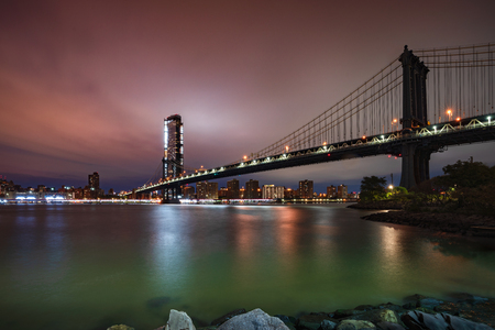 New York City skyline Manhattan Bridge at dusk , NYC USA Stok Fotoğraf