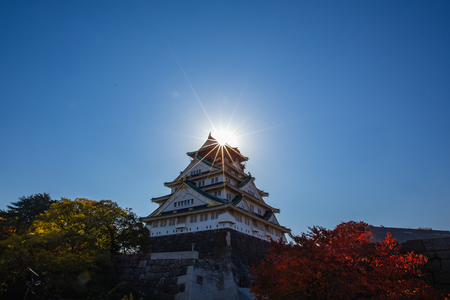 Osaka castle with sun light, Osaka Japan