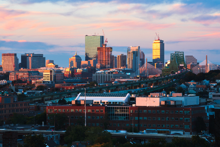 Boston city skyline with Boston bridges and highways, Boston Massachusetts USA