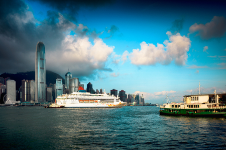 Hong Kong skyline in the morning over Victoria Harbour, Hong Kong China Stok Fotoğraf
