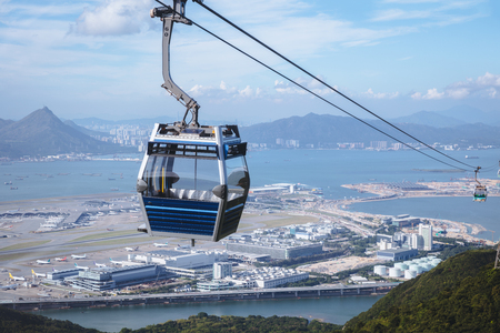 Cable car with airport Stok Fotoğraf