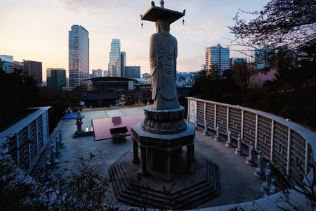 Bongeunsa temple of downtown skyline in Seoul city, South Korea