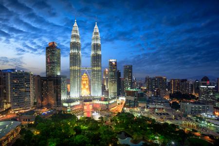 Skyline van Kuala Lumpur in de schemering, Kuala Lumpur Maleisië