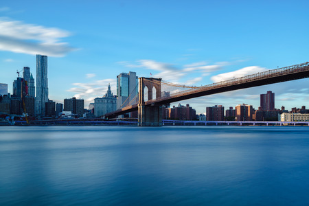 Brooklyn bridge park by east river NYC cityscape skyline, NYC USA Stok Fotoğraf