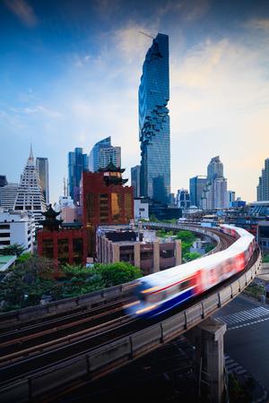 BTS skytrain and Mahanakhon building in at silom road Bangkok business district, Bangkok Thailand