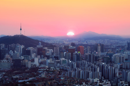 Seoul city skyline at sunset, South Korea