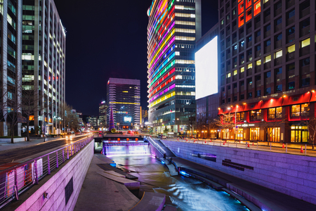 Cheonggyecheon Stream Park at night in Seoul City, South Korea