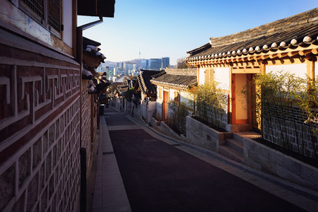 Traditional Korean style architecture. Bukchon Hanok Village, Seoul South Korea Stok Fotoğraf