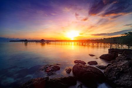 Wooden bridge at dusk Koh Mak, Trat Thailand