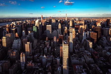 Aerial view of New York City skyline during sunset, NYC USA Фото со стока - 124121928