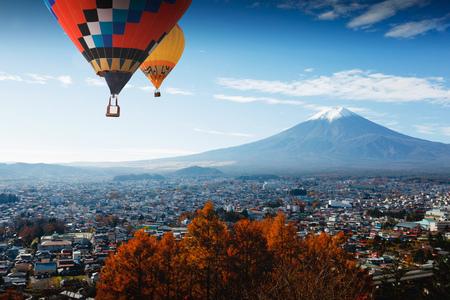 Aerial view of Mt Fuji, Fujiyoshida Japan Фото со стока