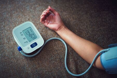 Check blood pressure.and heart rate with digital pressure gauge standard blood pressure test results
