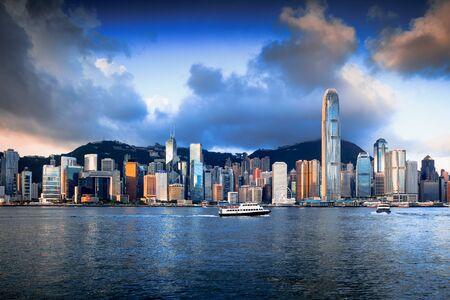 Hong Kong skyline in the morning over Victoria Harbour, Hong Kong China Standard-Bild