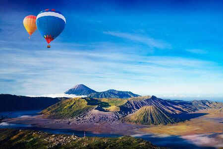 Colorful hot-air balloon flying over Mt. Bromo, Indonesia Zdjęcie Seryjne