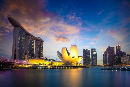 Marina bay Singapore at dusk Singapore city skyline Officially the Republic of Singapore Editorial