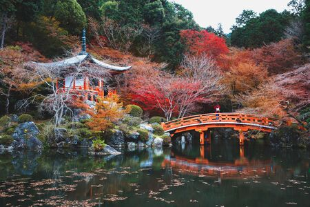 Autumn season, The leave change color of red in Temple japan, Daigoji Temple, Kyoto Japan Standard-Bild