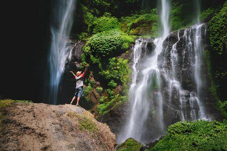 Grombong waterfall, Sekumbul waterfalls, Bali Indonesia Standard-Bild - 131816529
