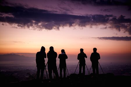Silhouette group of photographers at top view, Mandalay hill, Mandalay Myanmar