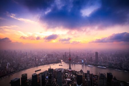Aerial view of Shanghai skyline cityscape Standard-Bild - 145942813