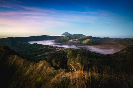 Mt Bromo, is an active volcano and part of the Tengger massif, in East Java, Indonesia. Standard-Bild - 147065166
