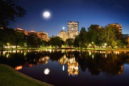 Skyline view of Boston at dusk, Massachusetts, from the Public Garden
