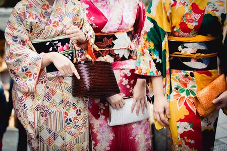 Closeup front of a japanese female kimono, Japan Standard-Bild - 147502509