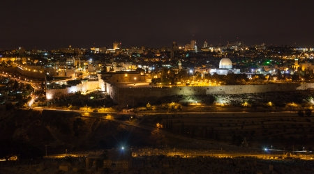 Jerusalem by night, view from Mount of Olives photo