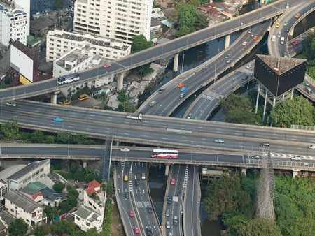 motorway: City highways,high angle view image, useful for urban living,traffic,stress or pollution related themes, Bangkok,Thailand, SE Asia
