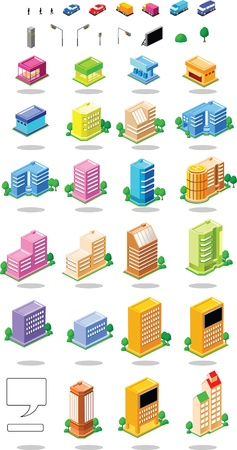 Icon of building and house Vector
