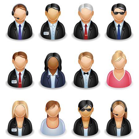 call center woman: Icono de la gente de negocios Vectores
