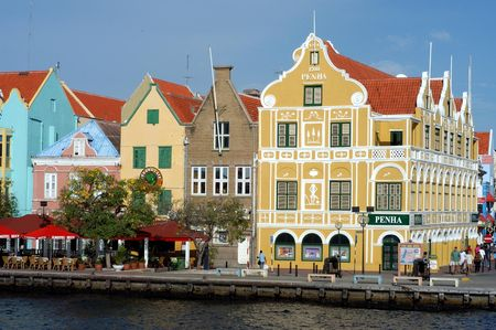 antilles: Colorful houses in Curacao, Netherlands Antilles