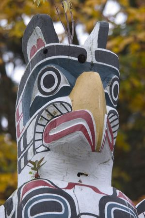 stanley: Detail of a totem pole in Stanley Park, Vancouver Stock Photo
