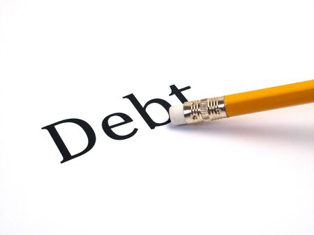 Debt being erased in word Stock Photo - 5580960