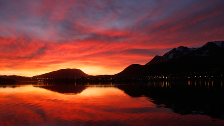 dawns: Fire sunset in Ushuaia