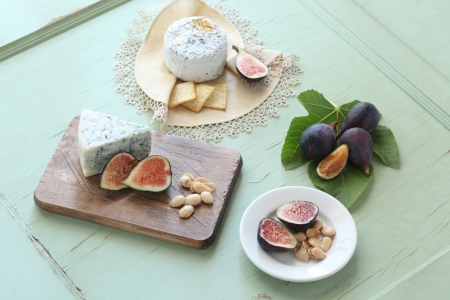 cheese plate: Fresh Figs and Cheese Plate Stock Photo