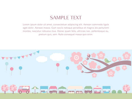 A simple background illustration of spring marche and sky and grassland. Frame with sample text. There are cherry blossoms, clouds, garland and balloons. The copy space is laid out in the upper half.