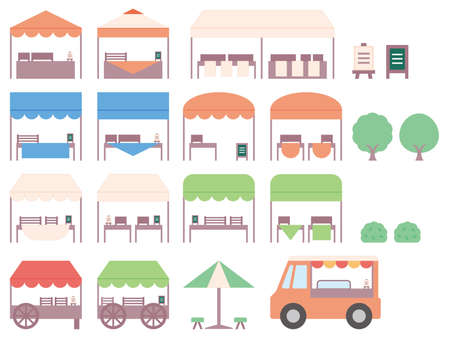 A simple illustration of a street stall opening in Marche. An icon set with various tents, signboards, trees and a kitchen car.