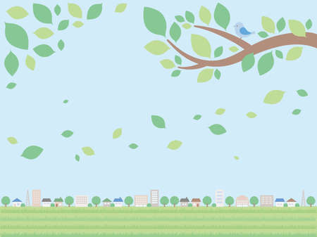 A simple background illustration of the cityscape in early summer. A distant view version where the sky spreads.