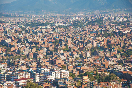 overpopulation: Kathmandu from Above Stock Photo