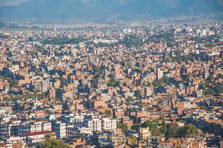mundo contaminado: Katmand� desde Arriba Foto de archivo