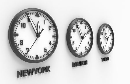 timezone: 3d illustration of New York London and tokyo time clock