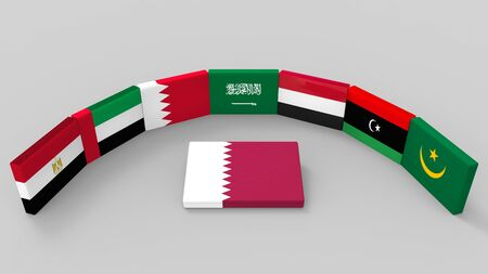3d rendering of some country of middle east flags with qatar country flag on the floor. as Saudi Arabia, Egypt, Bahrain, the UAE, Yemen, eastern Libya and Mauritanie have to banned or boycott Qatar concept. Stock Photo