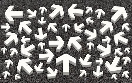 コンクリート道路階先の矢印記号のいくつかの diraction。次の方法や生活概念の次のステップを選択する混乱を招きます。