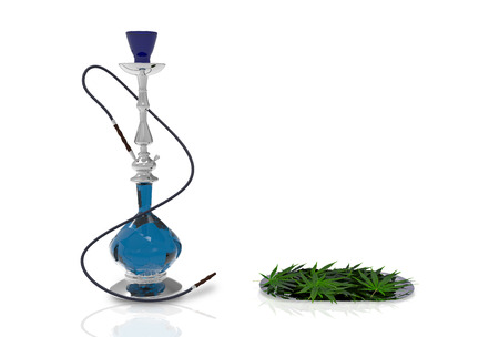 3d illustration. blue glass hookah and marijuana cannabis leaf on steel tray on white background